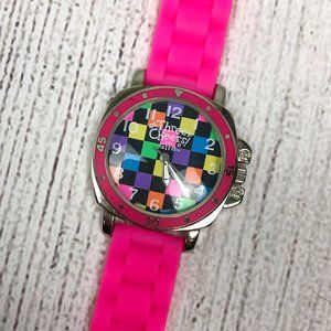 3/$20 3C4G Hot Pink Jelly Band Checkered Watch